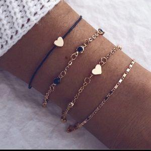 Heart Charm Bracelet Set